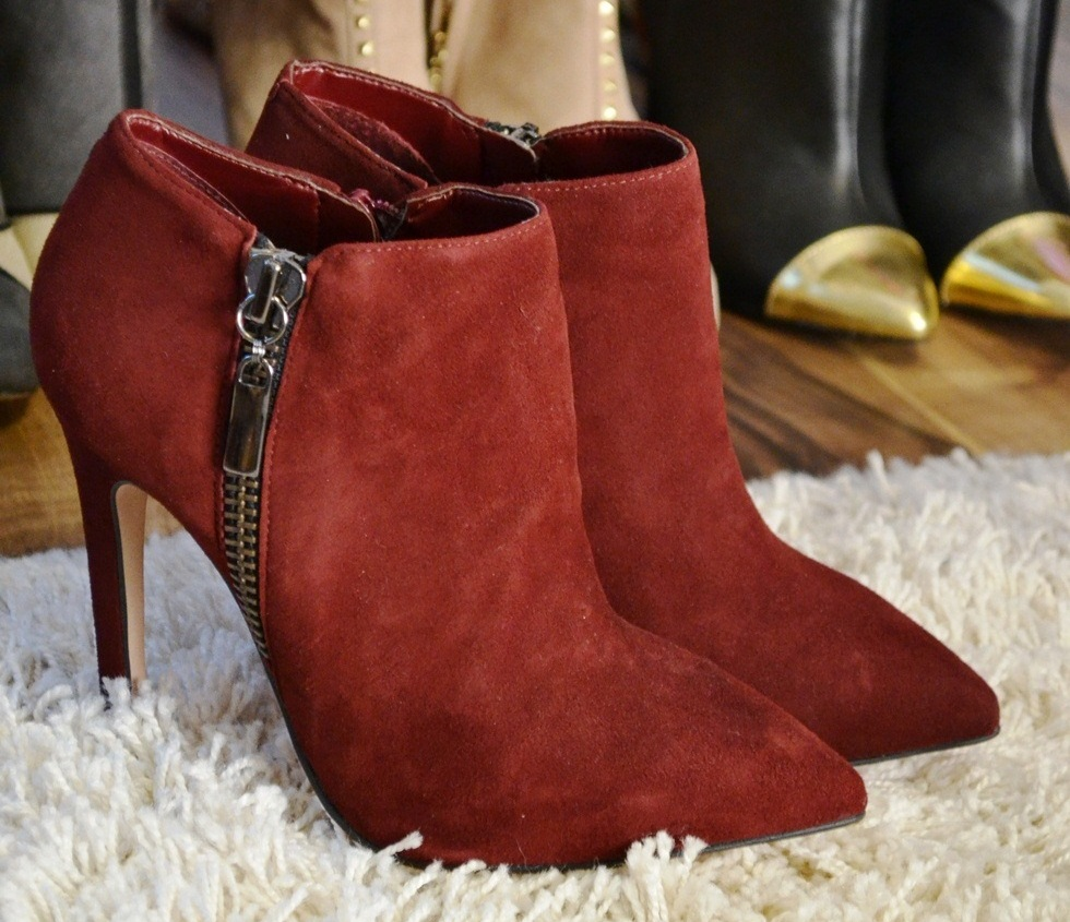 Carvela red booties with Zipper