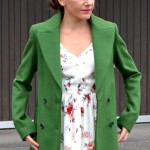 Spotted // Green Coat and Silk Dress