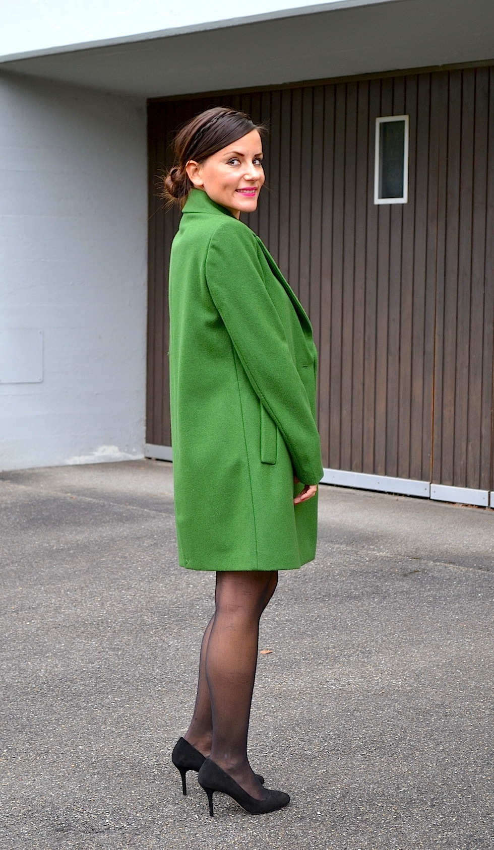 Coat Green Zara, fashionblog mekivi