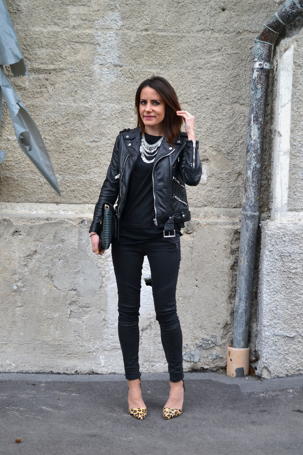 1_The Kooples Motojacket, Fashionfriends Statement Necklace, Trend 2015 fashionblog schweiz