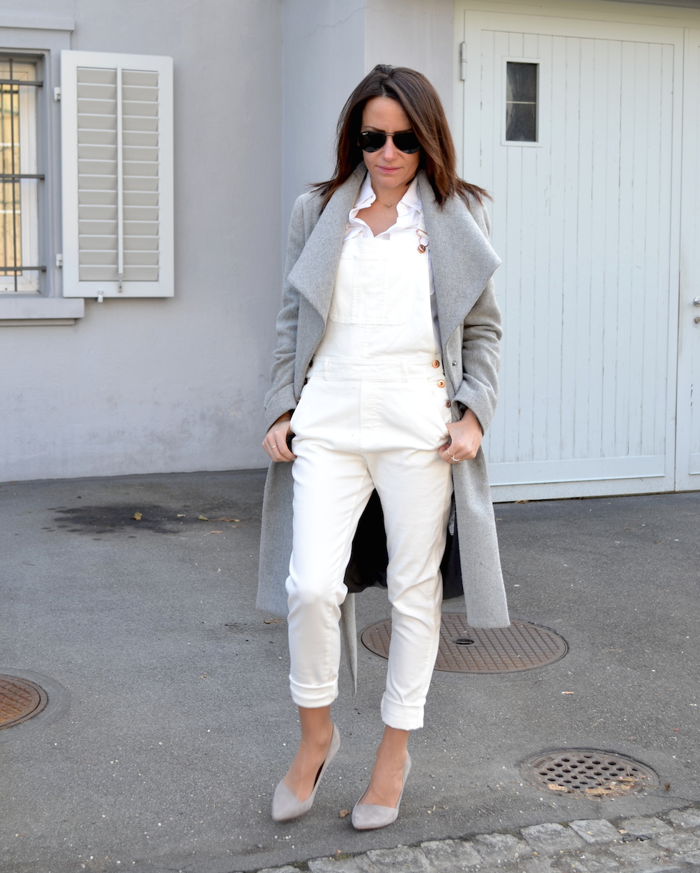 2_dungarees combination, madewell pumps grey suede