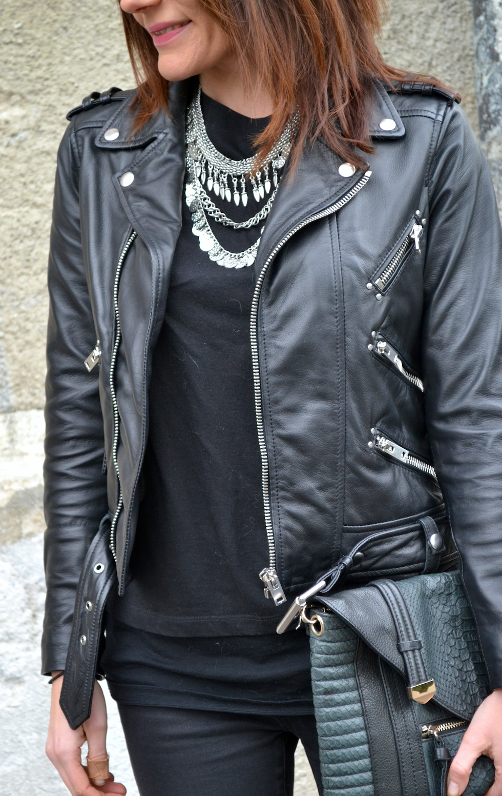 3_Statement Kette Fashionfriends, Bikerjacke The Kooples Fashionblog Mekivi Schweiz